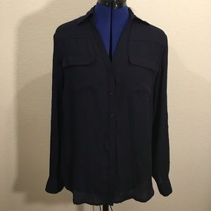 New York & Company Tops - Black New York & Co. Button Up Shirt with Pockets